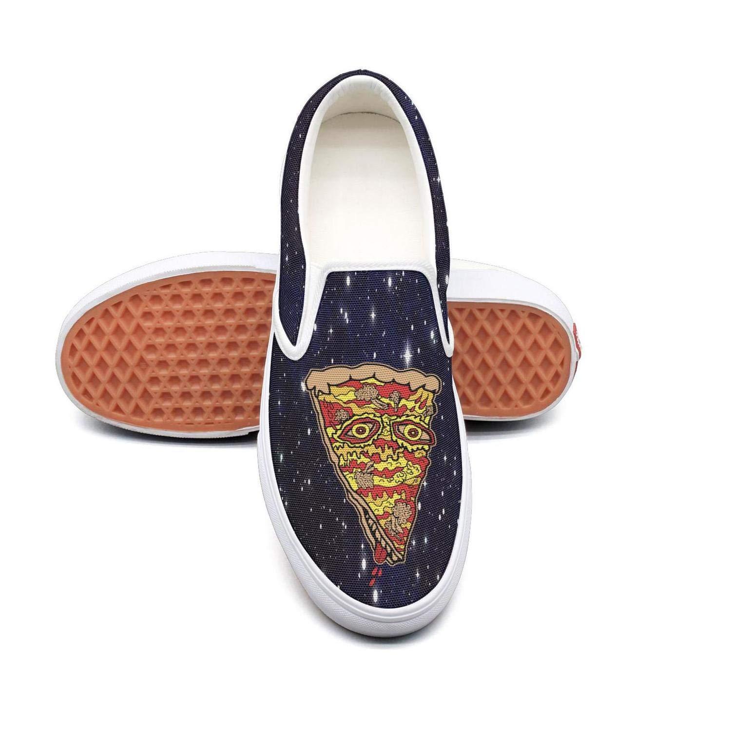 PPQQMM Art Woman Eating A Slice Of Pizza Womens Canvas Casual Skate Shoes Loafer