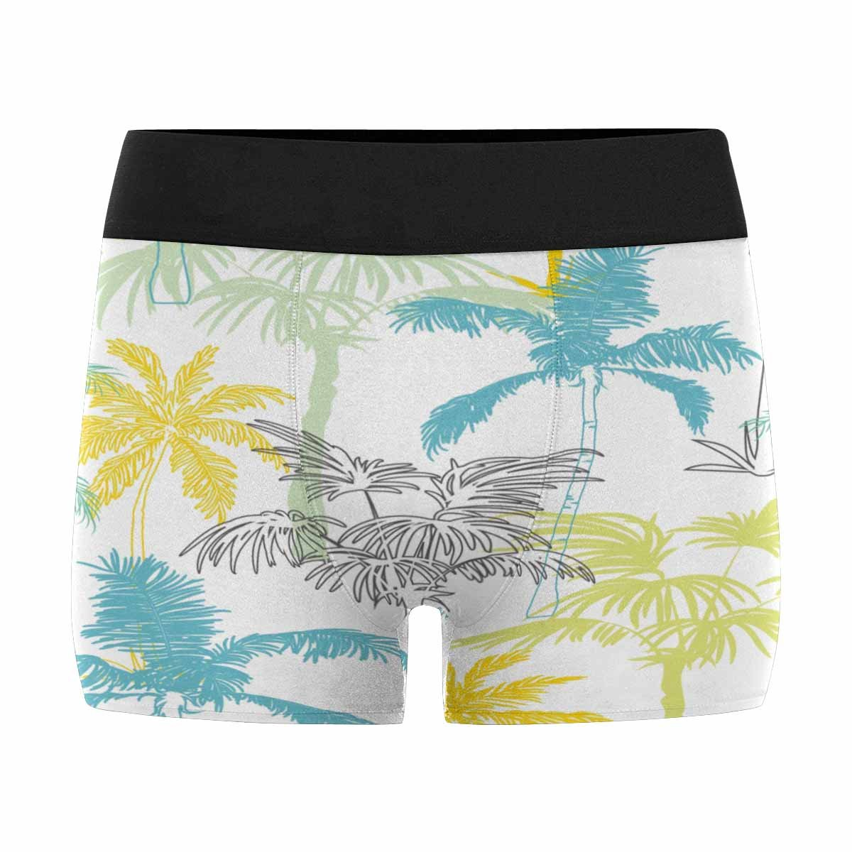 INTERESTPRINT Custom Mens Boxer Briefs Palm Trees California Grey Blue Yellow Surface Design with Exotic XS-3XL