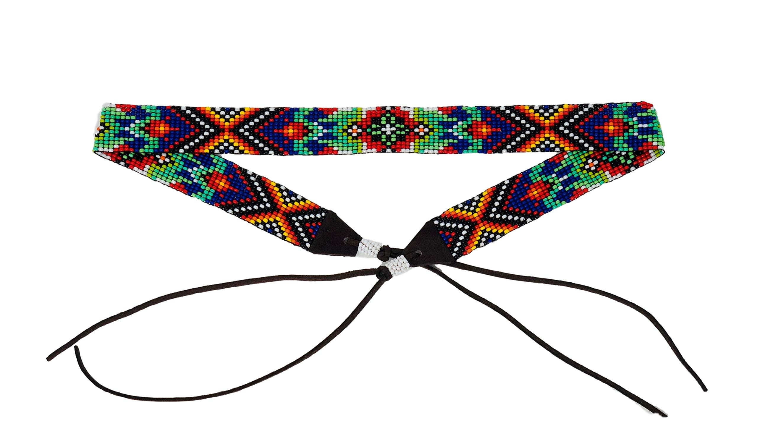 Mayan Arts Cowgirl Western Beaded Hat Band, Leather Ties, Men, Women, Handmade in Guatemala 7/8 Inches x 21 Inches (Purple and Green)