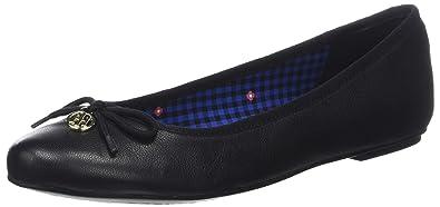 39e2a562251d Tommy Hilfiger Women s Basic Leather Ballerina Charm Ballet Flats, (Black  990), 7.5