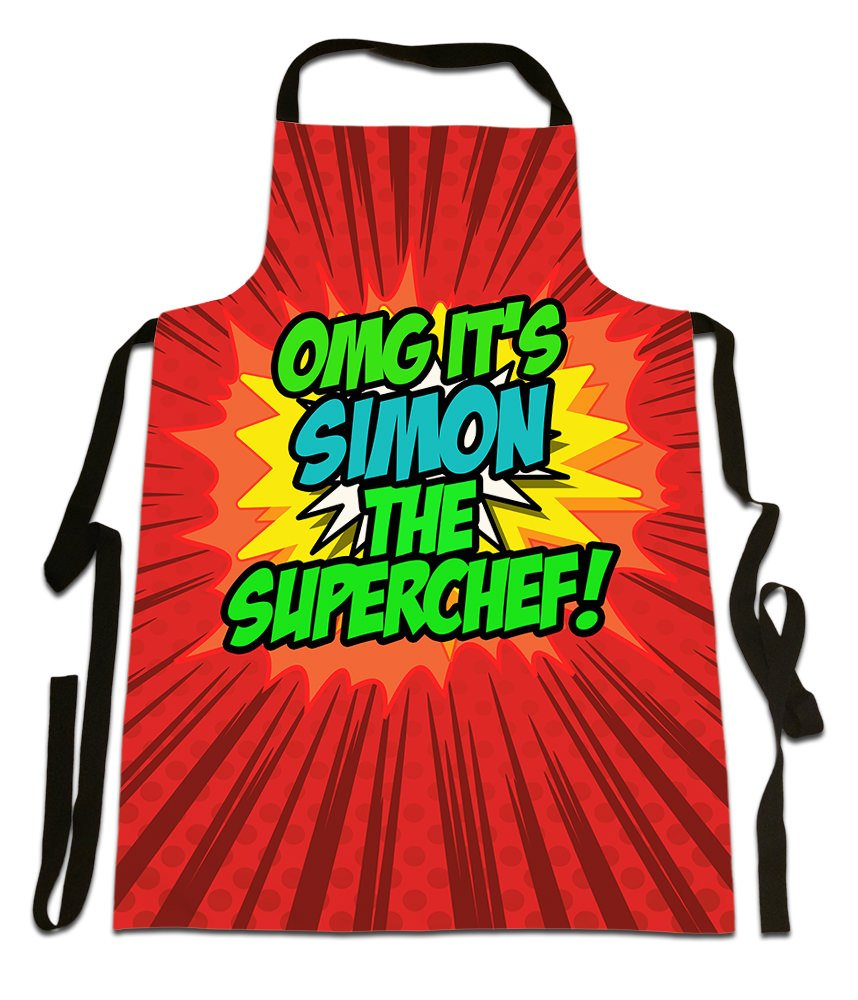 OMG It's Simon The Superchef!', Personalised Name, Funny Comic Art Style Design, Canvas Apron,, Size 25in x 35in approximately Fresh Publishing Ltd