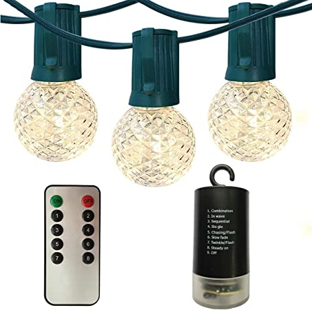 Outdoor G40 Globe String Lights Patio Lights with Remote,Battery Operated Hanging Backyard Lights,14ft 12 LED Bulbs,Timer,Dimmable,8 Mode Christmas Lights for Pergola Wedding Party Deck Porch,Black DealBeta