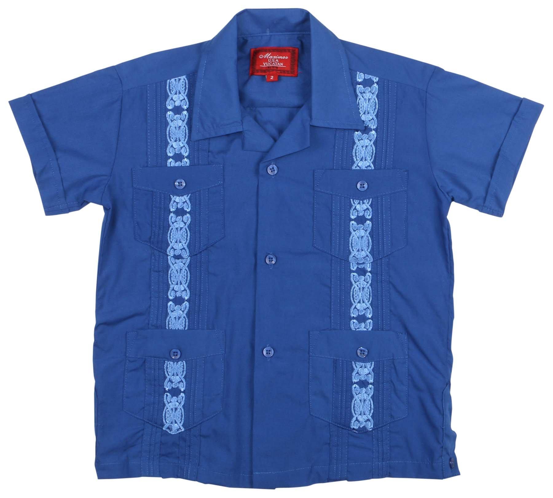 9 Crowns Essentials Boys' Guayabera Button Down Shirt-Royal Blue-18