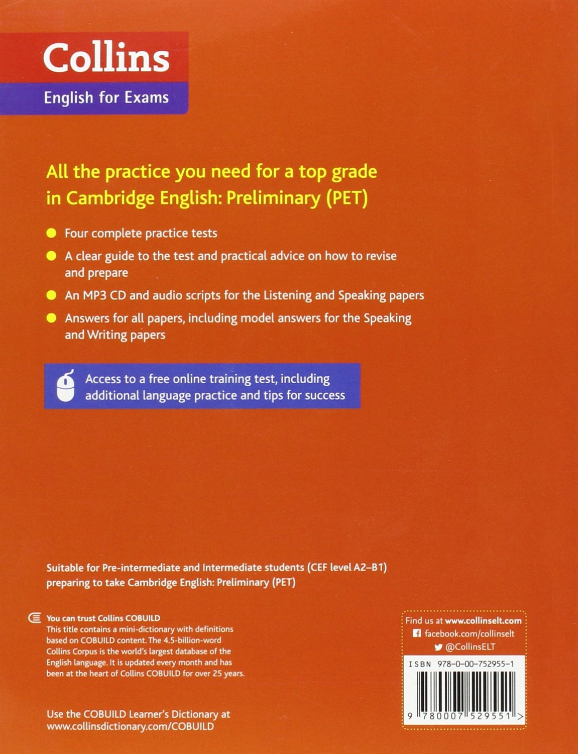 Practice tests for cambridge english preliminary pet collins cambridge english amazon co uk peter travis 9780007529551 books