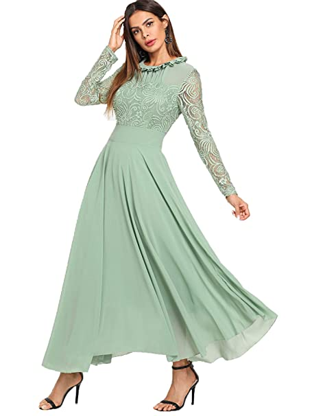 0c1eca639086f Image Unavailable. Image not available for. Colour: Milumia Women's Vintage  Floral Lace Long Sleeve Ruched Neck Flowy Long Dress ...