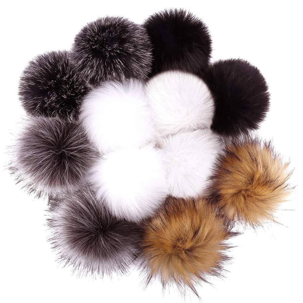 Amazon.com  DIY 12pcs Faux Fox Fur Pom Pom Balls for Knitting Hat ... 7efd202c553