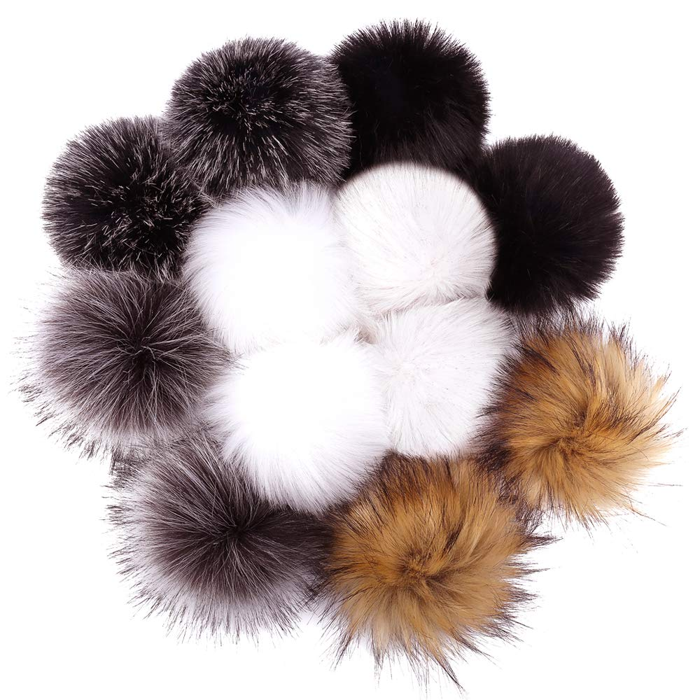 DIY 12pcs Faux Fox Fur Pom Pom Balls for Knitting Hat, Attachable Pompom Balls, Work Great with Knitting Loom