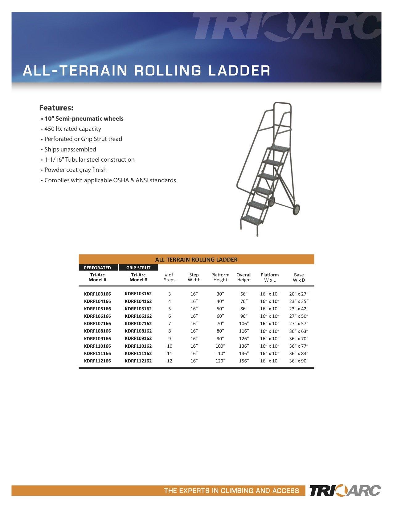 Tri-Arc KDRF110162 10-Step All-Terrain Roll and Fold Steel Industrial & Warehouse Ladder with Grip Strut Trea