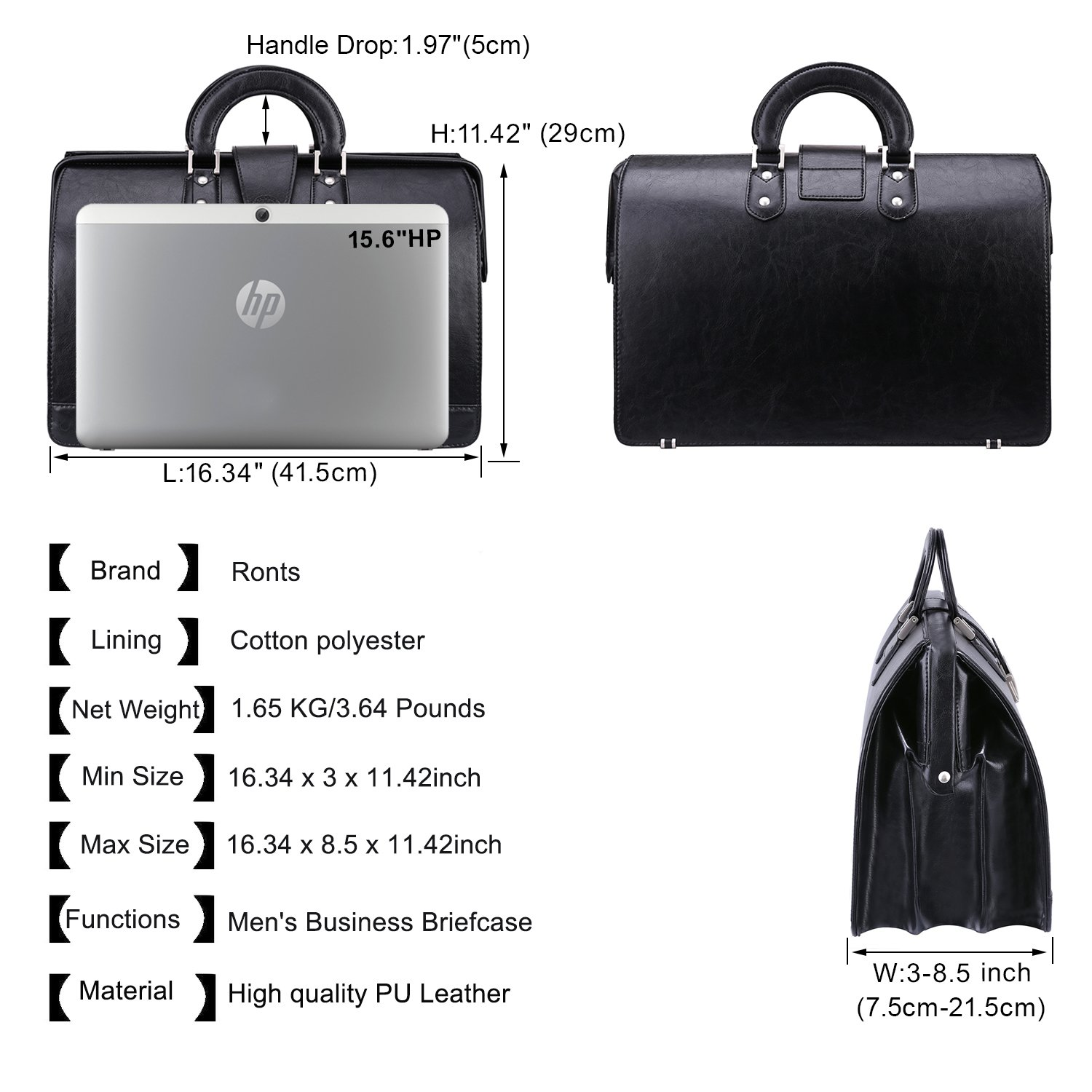 Ronts Mens PU Leather Briefcase Lawyer Attache Case with Lock 15.6 Inch Laptop Business Bag, Black by Ronts (Image #4)