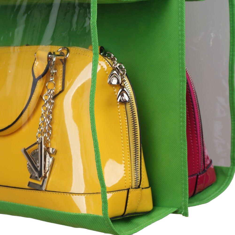 Chinatere ES03 Organizador Colgador de bolsos para el armario con 6 bolsillo verde