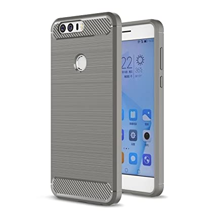 Honor 8 Case, Landee Soft TPU Resilient Shock Absorption and Carbon Fiber Design Silicone Case for Huawei Honor 8 (Gray)
