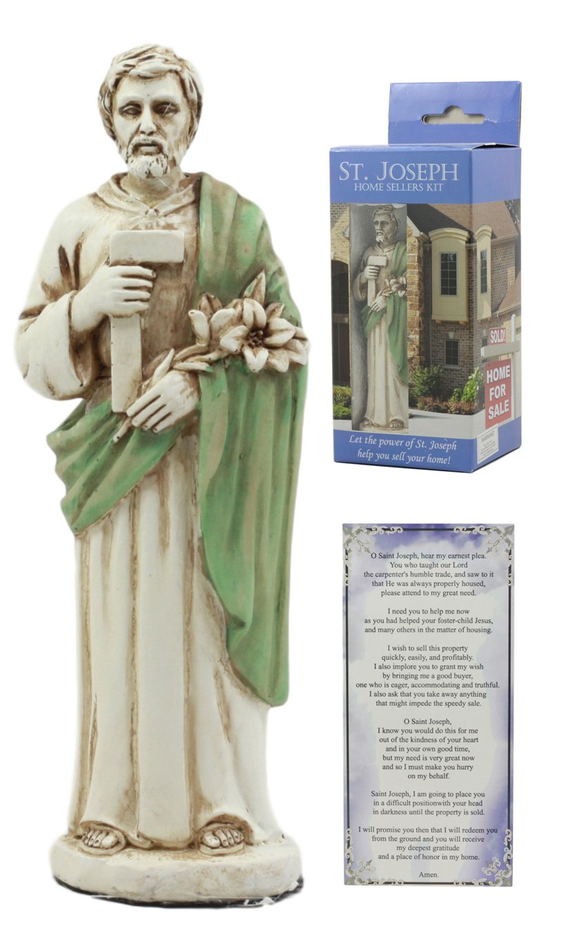 Ebros Saint Joseph Home Seller Kit With Prayer Card St Joseph Figurine Divinity Spiritual Symbol