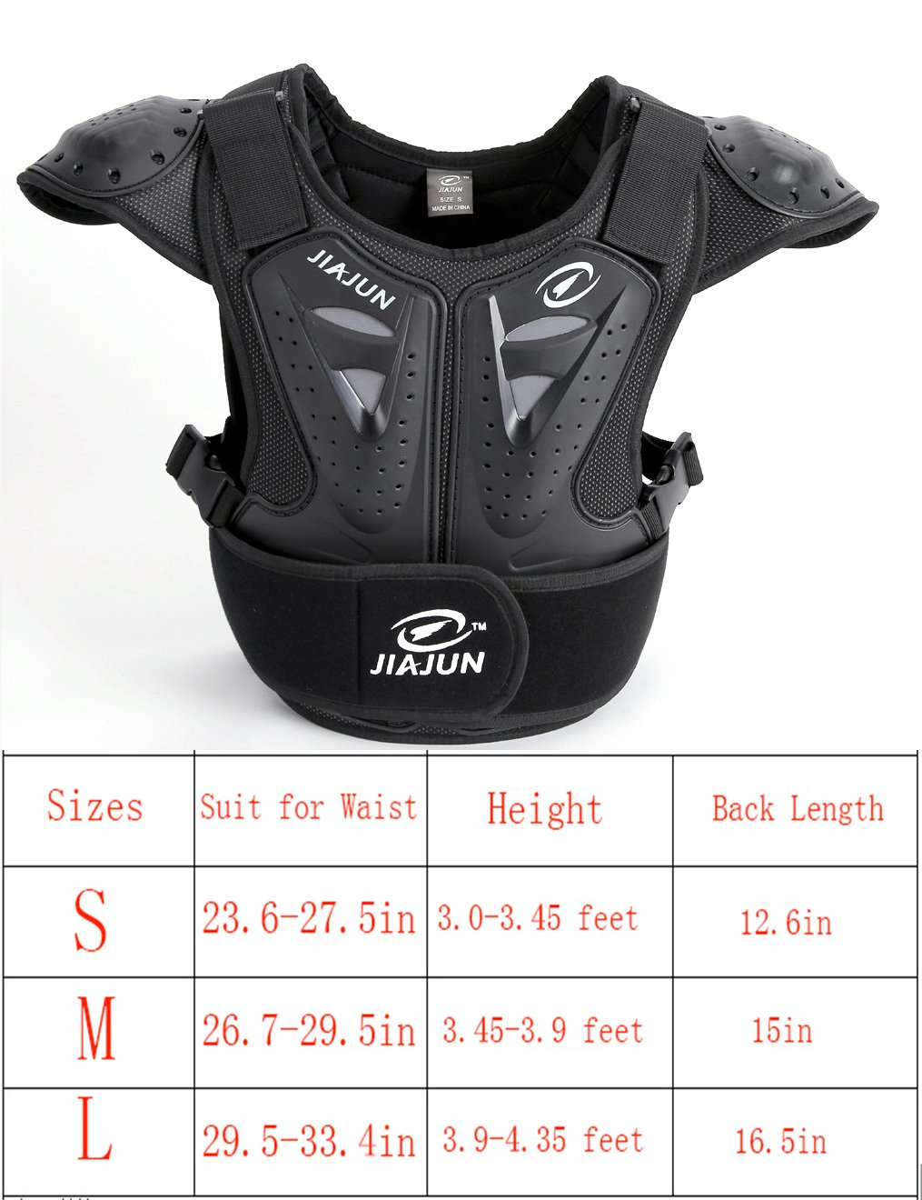 (Large, Black) - BARHAR Kids Dirt Bike Body Chest Spine Protector Armour Vest Protective Gear for Dirtbike Bike Motocross Skiing Snowboarding   B0775Z3WPG