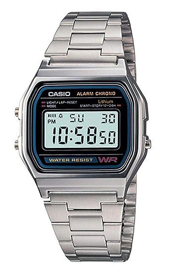 Casio A158WA-1DF - Reloj digital de cuarzo para hombre con correa de metal, color plateado: Casio: Amazon.es: Relojes