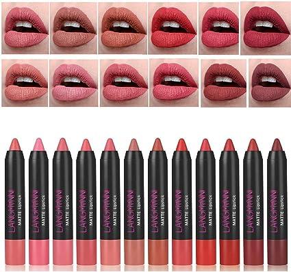 12Pcs / Kit Kits de lápiz labial de colores mate Nutritivo terciopelo mate Lápiz labial de larga duración Tinte Nude Make Up Set
