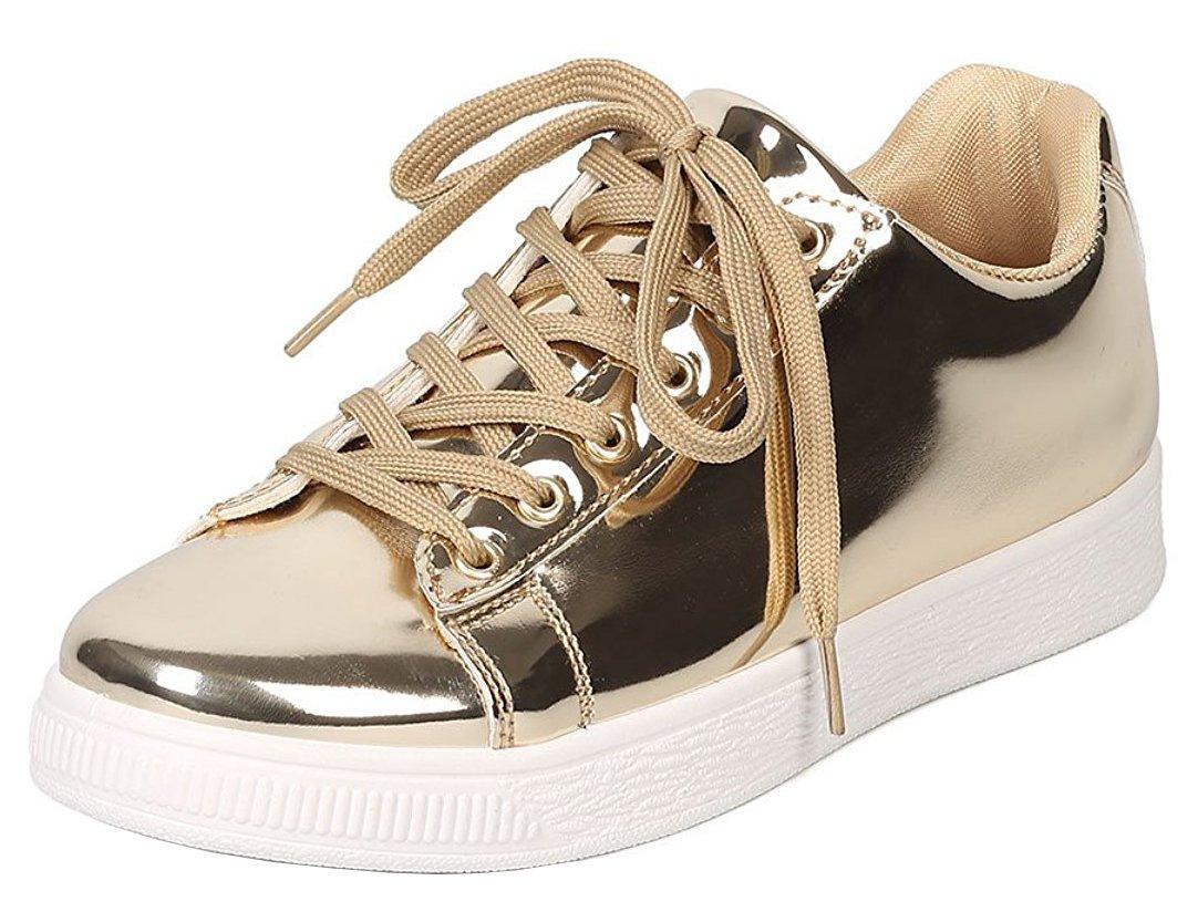 Cambridge Select Women's Basic Solid Fashion Sneaker (8.5 B(M) US, Champagne)