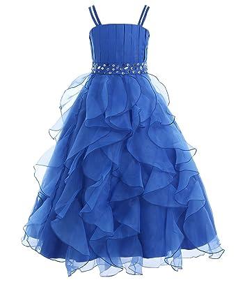 iiniim Girls Organza Princess Party Pageant Wedding Prom Gowns Flower Girl Dress Blue 4