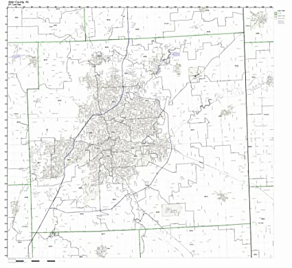 Amazon Com Allen County Indiana In Zip Code Map Not Laminated
