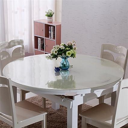 Hjuns Protection Transparente Pour Table Ronde De Salle A Manger Etanche A La Graisse Resistant Aux Rayures Impermeable Pvc Transparent