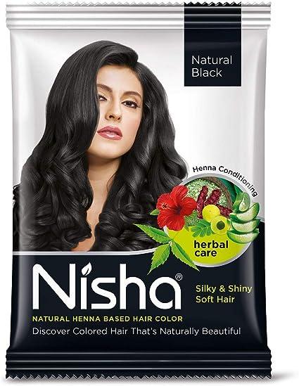 Nisha - Tinte de henna en polvo para cabello de color natural (10 g, 10 unidades)