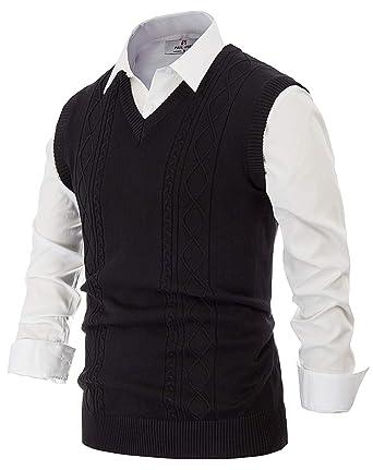 PJ PAUL JONES Men s V Neck Sweater Vest Argyle Cable Pattern Comfortable  Soft Knit (S 5223872e6