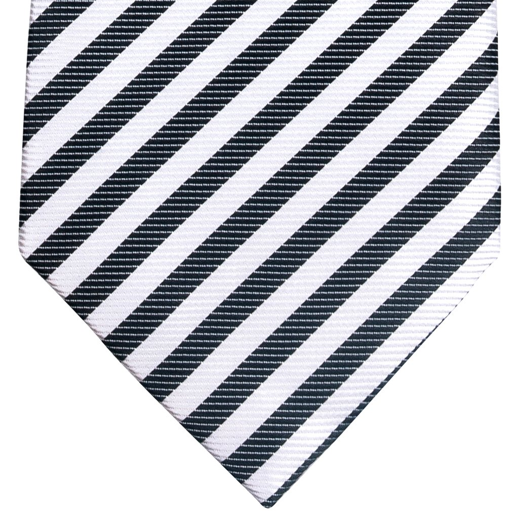 Retreez Striped Woven Microfiber Boy's Tie (8-10 years) - Black and White Stripe by Retreez (Image #2)