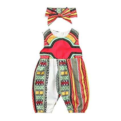 80f3e33e3c Amazon.com: ❤ Mealeaf ❤ Toddler Kids Baby Girl Outfits Clothes African  Print Sleeveless Romper Jumpsuit(2-7 Years ) (White, 2-3 Years): Home & ...