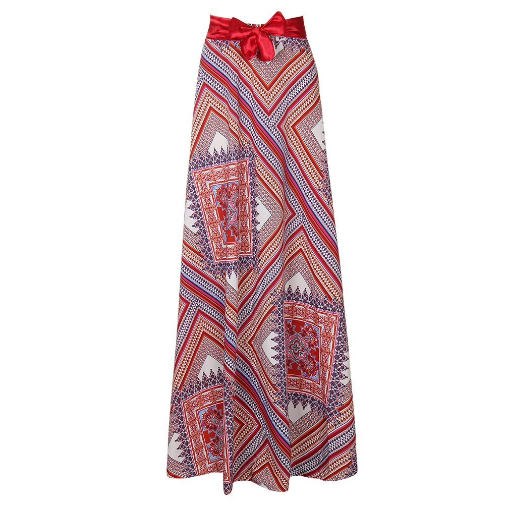 e315359bbf3611 Geometric/Irregular/Floral Printed; Bohemian/Hippie Boho Style Elastic Waist  African Skirt, Full Length, Lightweight and soft. The bright color  combination ...