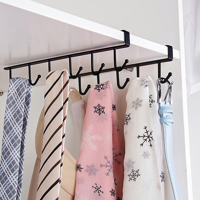 Hysagtek 2 pcs taza taza taza de soporte de estante armario colgador 6 ganchos toalla percha para cinturones y corbatas, soporte de secado de rack de ...