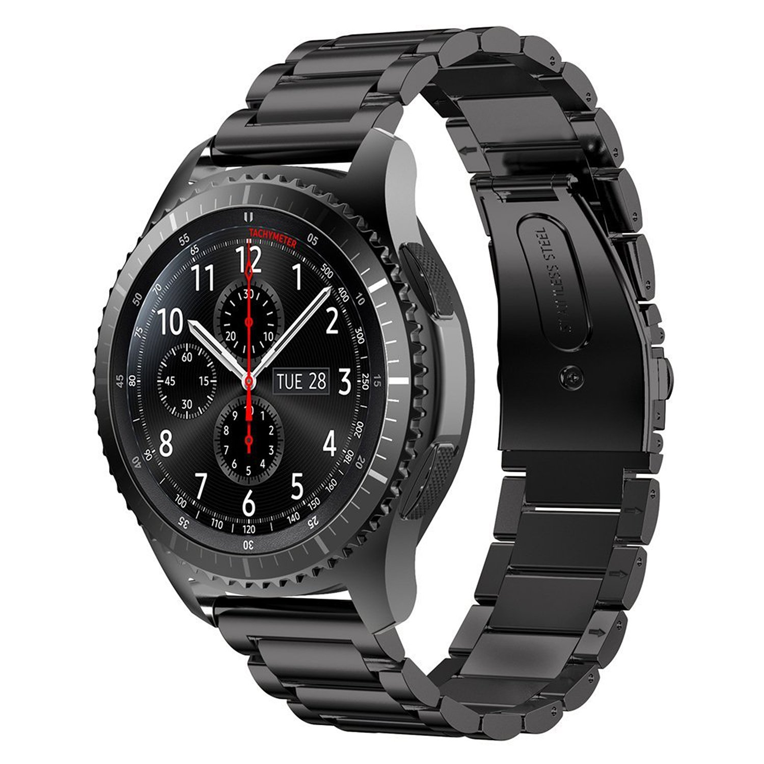 Gear S3 Frontier Band XL/Large, Oitom Premium Solid Stainless Steel Watch Bands Link Bracelet Strap for Samsung Gear S3 Classic Gear S3 Frontier Galaxy Watch 46mm Smart Watch Fitness Black by Oitom