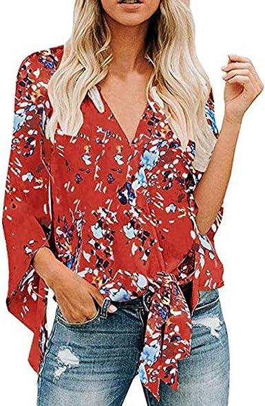 ZODOF Mujeres Camisetas Cuello V Blusa Manga Larga Nudo Floral con Cuello Abajo Casual Camisa Tops Blusa Moda Mujer Elegante Suelto Cómodo Sexy Tallas Grandes: Amazon.es: Ropa y accesorios