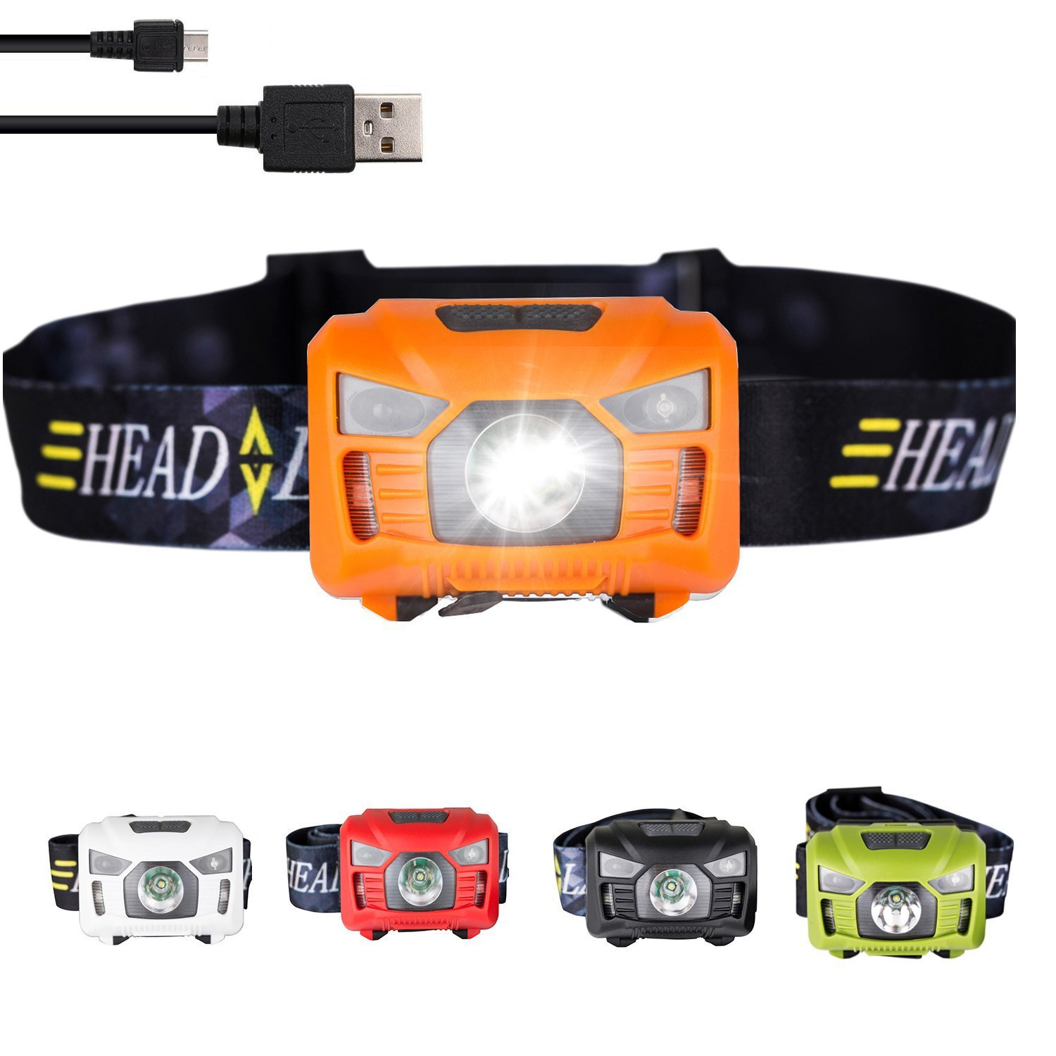 three trees Sensor Brightest LED -With Red Light Rechargeable Headlamp Flashlight for Kids Men and Women,Waterproof Perfect for Running, Walking,Reading,Camping Adjustable in 200 Lumens (orange)