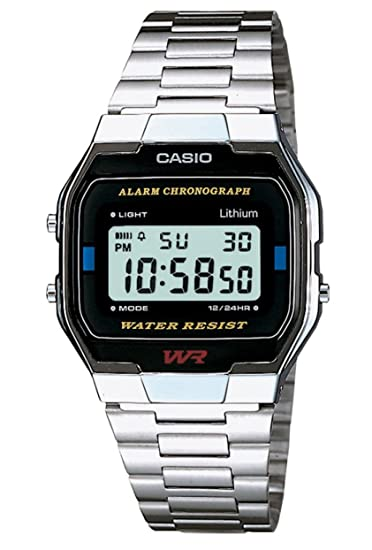 Casio Collection A163WA-1QES, Reloj Rectangular, Acero Inoxidable, Unisex, Plateado: Casio: Amazon.es: Relojes