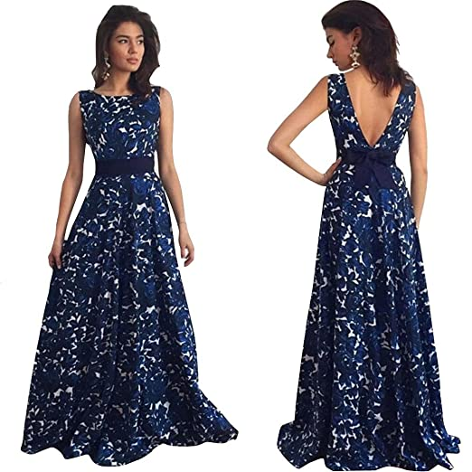 4bb51a2c350 Fanteecy Women Elegant Backless Sleeveless Floral Printed Fit and Flare A- line Long Maxi Dress