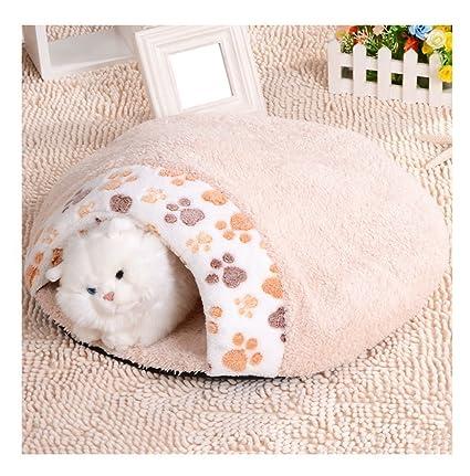 Jeerui Saco de Dormir Cama para Gato Animales Domésticos (S, Beige)
