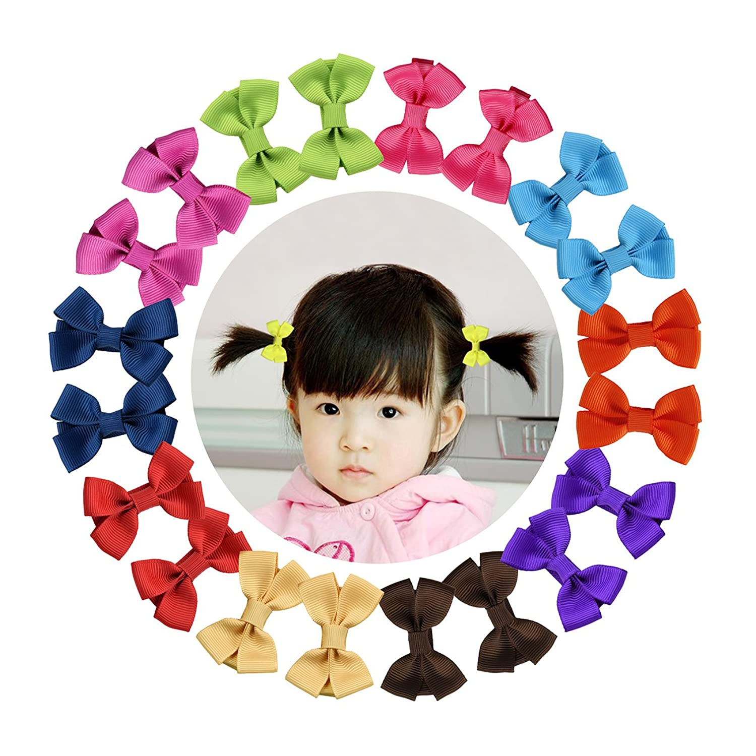 Be best hair accessories for baby - Shemay 10 Pairs 2 Tiny Boutique Grosgrain Ribbon Hair Bow Alligator Clips Barrettes For Baby