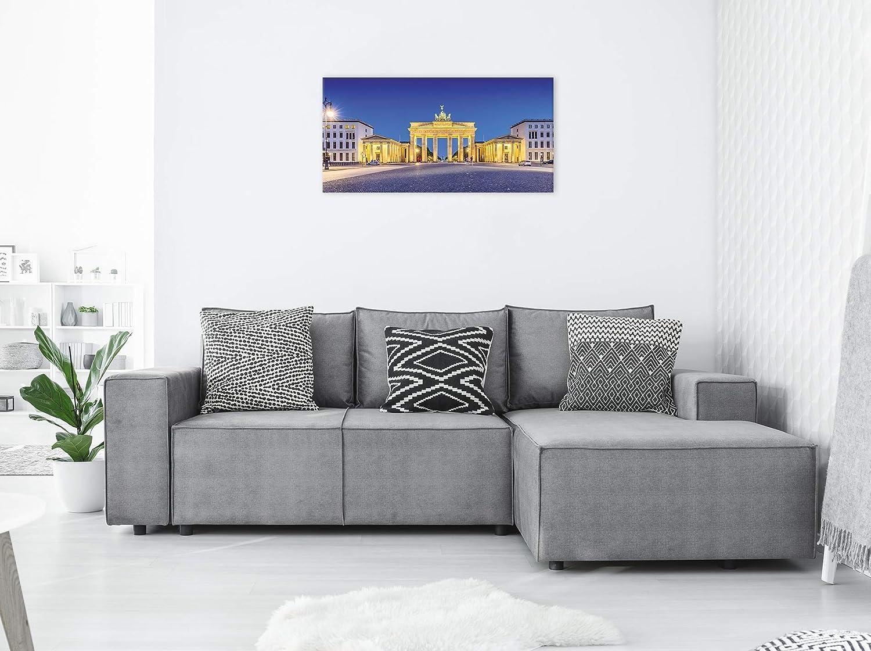 Revolio 70x25 cm Panorama Bilder Leinwandbild Wandbilder Wohnzimmer Modern Kunstdruck Design Wanddekoration Deko Bild auf Leinwand 1 Teilig Grafik Pixel Wei/ß schwarz