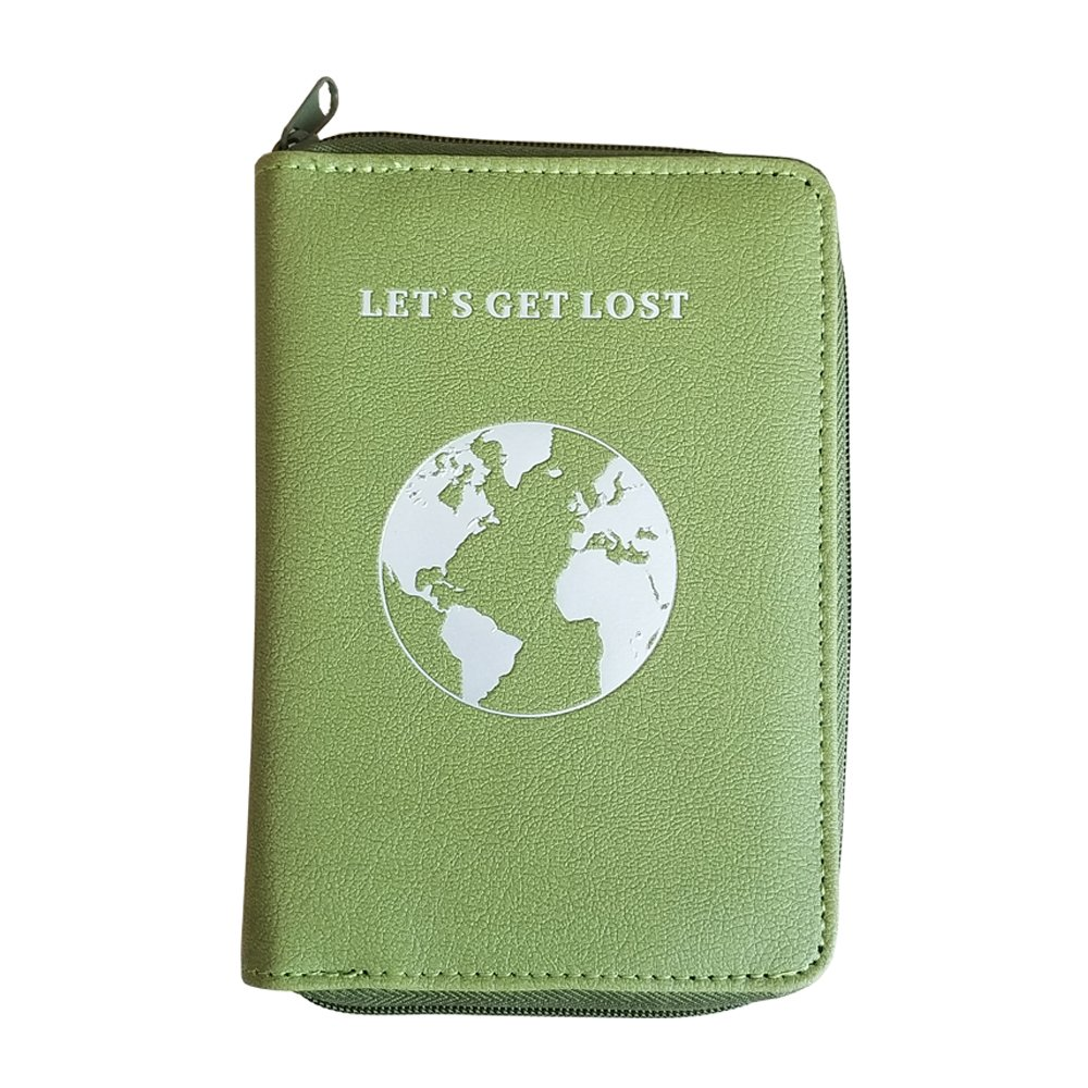 Passport Holder with Unique Zipper Closure - Multiple Colors & Travel Quotes - RFID Blocking Security Travel Wallet - Holder Protector Case for Passports, Cards, Cash and Travel Documents (D)