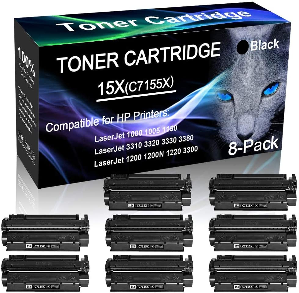 15X Printer Cartridge C7115X Black 8-Pack Compatible High Yield Laserjet 1000 1005 1150 1200N Laser Printer Toner Cartridge Replacement for HP
