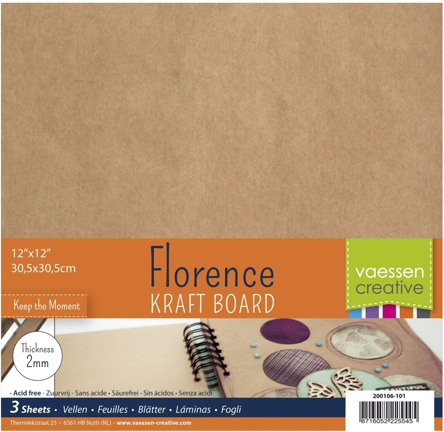 Wedding D/écor and More Kraft Brown 12 x 12 inches Set of 3 Square Sheets for Scrapbook or Journal Covers Photo Albums Vaessen Creative Florence Chipboard Craft 2mm 12 x 12