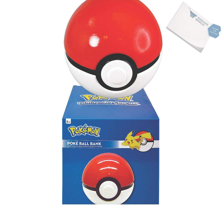 Bargain World Pokemon Pokeball Bank (With Sticky Notes)