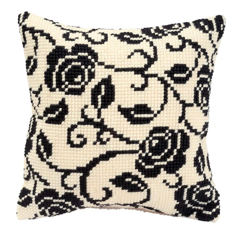 Vervaco Black and White Pillow Cover Needlepoint Kit