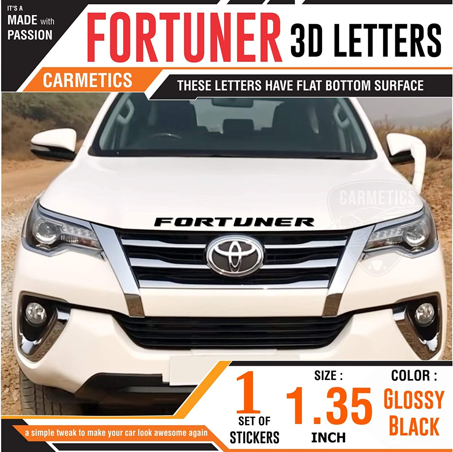 Carmetics fortuner 3d letters for toyota fortuner glossy black 3d letters 3d logo 3d sticker fortuner accessories amazon in car motorbike