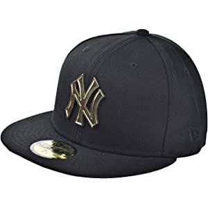 aac86af2ee9 New Era New York Yankees Metal Logo 59Fifty Men s Fitted Hat Cap Black Gold  80569903