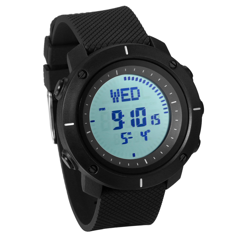 JewelryWe Reloj Deportivo Montañismo Reloj de Hombre Digital para Aire Libre A Prueba de Agua 5 ATM, Hora Mundial con Luz del Fondo, Negro: Amazon.es: ...
