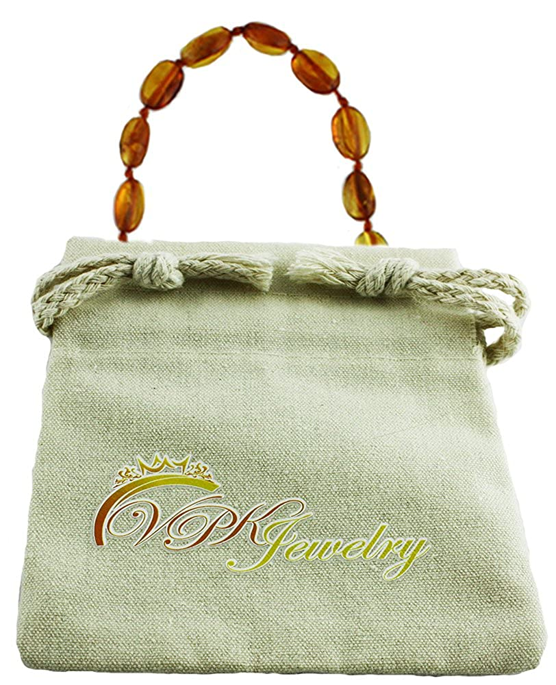 VPKJewelry Amber Teething Oval Necklace Babies Anti Inflammatory Drooling Pain Reduce Cognac Honey Unisex Baltic ASMS00ACHO