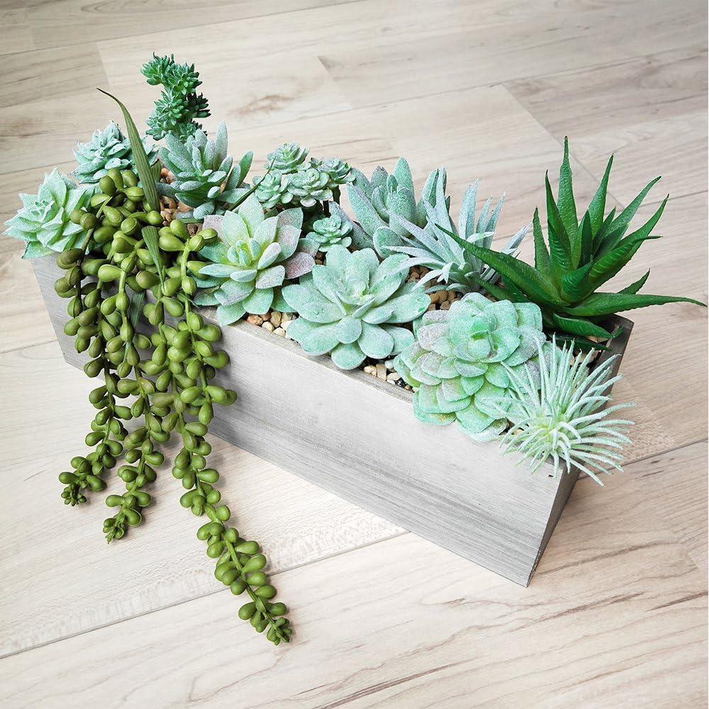 Soviton Lot DE 6/Mini Artificielle Succulents Picks Unpotted Simili Assortiment en floqu/é Vert Composition Florale