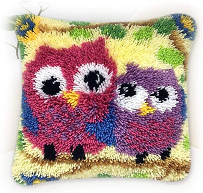 Latch Hook Kits DIY Cross Stitch Animal Flower Cushion Kits Embroidery Rug Yarn Kits-Best Gift for Family and Kids Forest