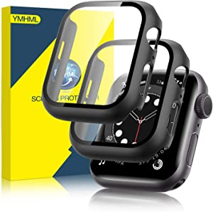 [2 Pack] YMHML Hard Case Compatible with Apple Watch Series 6 Apple Watch Series SE 40mm with Built-in Tempered Glass Screen Protector, Thin Bumper Full Coverage Bubble-Free Cover for iWatch (Black)