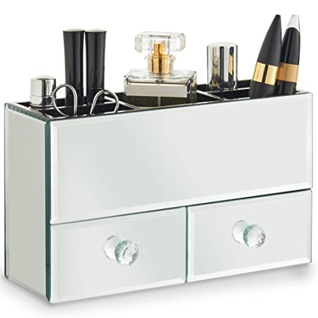 Beautify 2 Drawer Mirrored Glass Makeup Box U0026 Jewellery Organiser With 5  Storage Sections Includes Glass